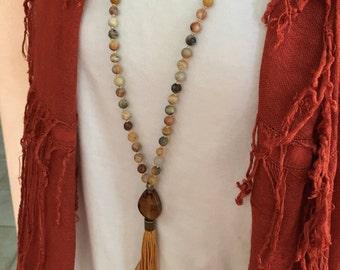 Buddhist Rosary - Mala Necklace - 108 Bead - Knotted - Tibetan Prayer Beads - Meditation Mala - Tassel Mala - Yoga Beads - Crazy Agate