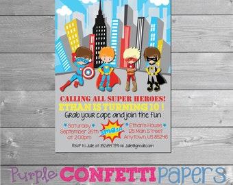 Super Hero Birthday Invitation, Super Hero Party, Marvel Comics, Super Hero Invitation, Super Hero Birthday, Boy Birthday, Printable