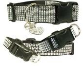 "Silver Rhinestone Dog Collar 5/8"", 3/4"", 1"", 1.5"" Black Dog Collar Buckle or Martingale Styles"