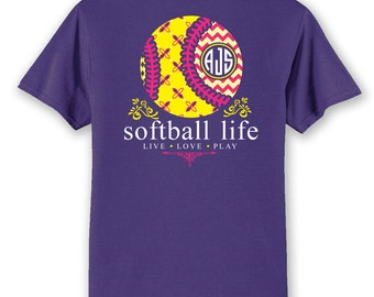 OFFICIAL TM SOFTBALL Life Custom Monogram T-Shirt Softball Shirt