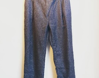 Gray High Waisted Trousers Vintage Retro Smart Work Pants Office Pockets Dark Grey 90s Small Ladies Women's