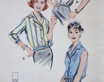 1960s Blouse Pattern /Butterick 8583 /Sleeveless Shirt Sewing Pattern/Bust 34 Size 14