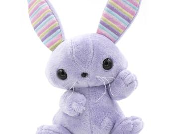 Large Purple Bunny Stuffed Animal, Plush Toy, Plushie Rabbit, Sparkly Rainbow Ears
