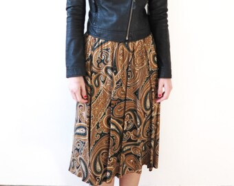 90s vintage skirt// paisley green and gold skirt// elastic waist midi skirt// medium