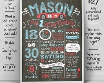 Race car first birthday poster -  1st birthday Chalkboard - Race car invitation (sold separately) - we edit u print birthday chalkboard sign