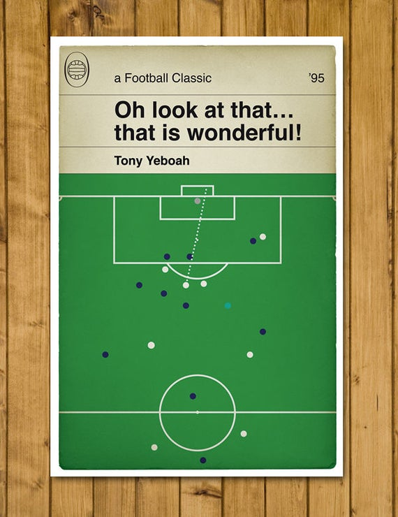 Classic Book Cover Page : Football print classic book cover poster tony yeboah goal
