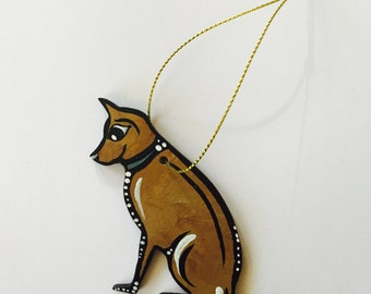 "Dog Ornament - 3"" Original Handmade and Signed Cute Dog Wood Flat Ornament. Christmas Tree Decor - Dog Art. One of a kind."