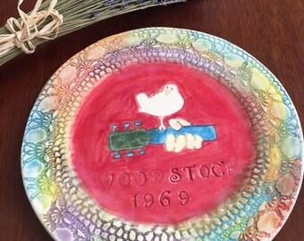 Woodstock Music Festival Memory Ceramic Plate Handmade