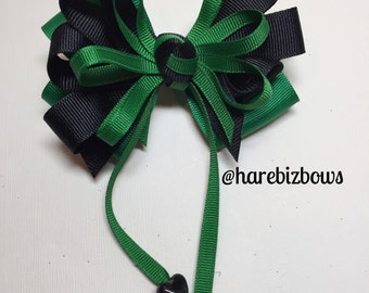 Emerald Green and Black Hair Bow Sweetheart School UNIFORM Boutique Streamers Tails Toddler Girl
