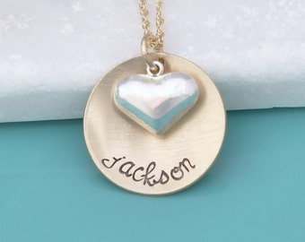 Personalized Custom Name Necklace - Hand Stamped Gold Fill Necklace - Personalized Handstamped Jewelry -  Sterling Heart Charm Name Necklace