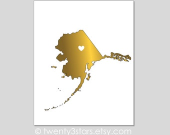 Alaska Real Gold or Silver Foil Art Print, Unframed Frontier State Art, silver foil Art, Add a Heart, Juneau Art Print Gift USA
