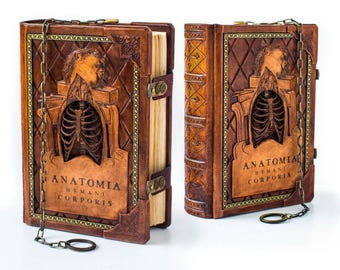 "COMING SOON - 8"" x 11"" - Anatomia Humani Corporis leather journal, ultimate Renaissance anatomical sketchbook, DaVinci sketchbook"