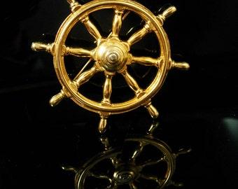 "2 1/2"" Ship Wheel brooch Vintage brooch nautical brooch pirate brooch Sailors Directional Navigation gold nautical seaman"