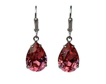 Rose Peach Swarovski Earrings, Pink Swarovski Earrings, Pink Crystal Earring, Pink Bridesmaid Earrings, Rose Peach Dangle Earrings