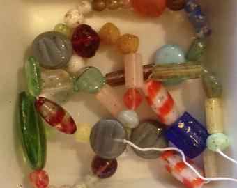 Czech Beads Strung Glass Pressed Bead Travelers Treasure Mix