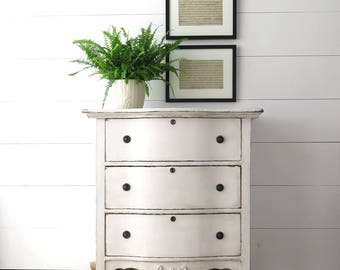 Painted White Chest, Cottage Chest, Shabby Chic Dresser, Antique Chest of Drawers, Three Drawers, Hand Painted, Bedside | BoulderBlueStudio