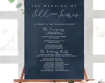HUE NAVY Watercolor Wedding Program Poster | Wedding Ceremony Poster| Printable Program Poster | Printed Wedding Poster| Watercolor Program