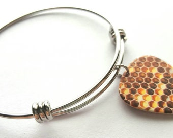 Honey Comb Guitar Pick Adjustable Bangle - stainless steel - Bees - Nature - Beekeeping
