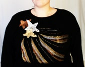 Plus Size - Vintage Black & Metallic Beaded Shooting Star Sweater (Size 2X)