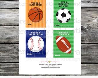 Kids Valentines Day Cards, Sports Valentine Cards, Instant Download, Printable Valentine Card, Soccer, Baseball, Football, Basketball
