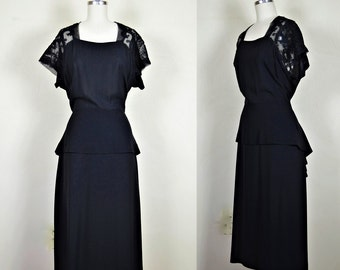 "1940s Classic Black Rayon Crepe Dress with Soutache Embroidery 40"" Bust"