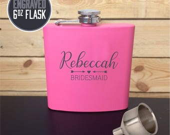 Engraved 6oz Flask, Custom Stainless Steel Flask, Personalized Bridesmaid Gift, Girls Night Out Gift, Flask for women