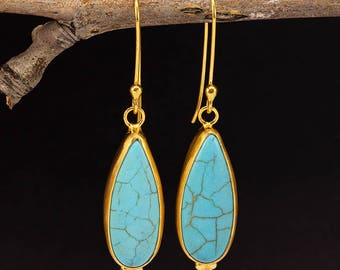 Handcrafted Artisan 24K Yellow Gold over 925 Sterling Silver Natural Turquoise Ancient Roman Art Designer Dangle, Hook Granulated Earrings