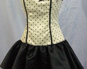 Jessica McClintock for Gunne Sax - adorable green & black pokadot dress - ready to go dancing