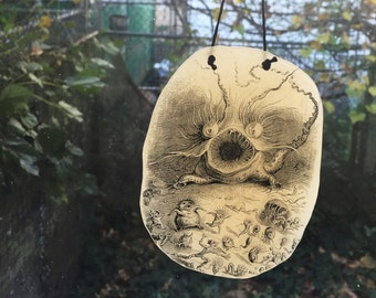 Microscopic Monster Sun Catcher, Illustration by Grandville, Faux Stained Glass Window Ornament - Les Animaux
