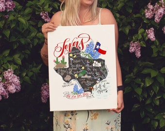 Texas map art, Texas art print, Texas canvas print, texas gift, texas illustration, calligraphy art print, calligraphy canvas, texan gift
