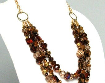 Crystal Statement Necklace - Three Strand Crystal Necklace - Chunky Statement Necklace