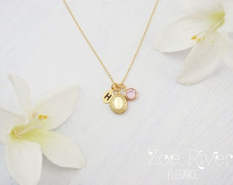 Personalized birthstone, initial and tiny gold locket, personalized initial locket, dainty and so elegant