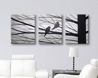 "Wall Decor Canvas Art Original Painting Wall Art Home Decor Love Birds 48""x20"" Gray Artwork"