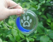 Clear Blue Moon Paw Animal Lover Recycled Wine Bottle Sun Catcher Ornament - Charm, Recycle, Melted Wine Bottle, Pendent, Christmas