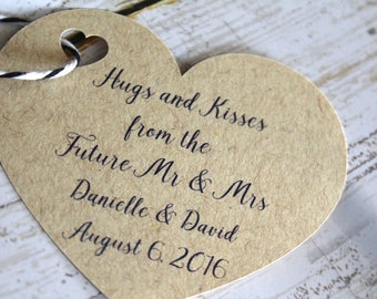 Heart Paper Tags, Wedding Favor Tags, Gift Tags, Wedding Favors, Hugs and Kisses