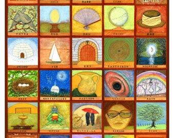 """VISIONS A to Z, 26 Images with Words in Alphabetical Order Made from Chaos, 29"""" x 24"""" PRINT"""