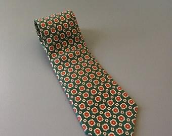 vintage silk Brooks Brothers Makers tie green orange
