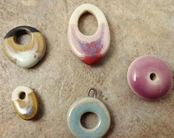 Porcelain Bead Destash, Marlas Mud Porcelain beads, Miscellaneous beads, Porcelain Beads, One of a Kind, Pink Porcelain, Tan and Black
