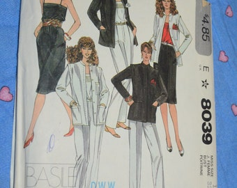 McCalls 8039 Misees Jacket Camisole Skirt and Pants Sewing Pattern - UNCUT Size 10 But 32 1/2