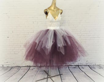 White Plum tea length tutu bridal wedding adult womens tutu engagement photo tutu white tulle skirt white special occasion tutu sewn tutu