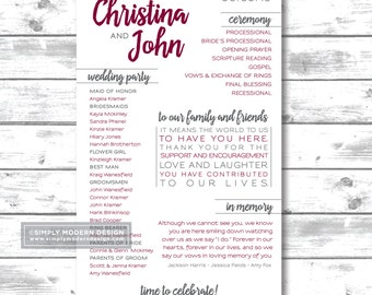 Modern Wedding Program Wedding Ceremony Order Of Events