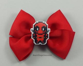 Deadpool Hair Bow - Deadpool Bow - Deadpool Hair Clip - Deadpool Accessory