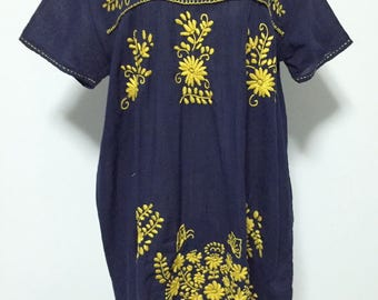 Hand Embroidered Dress Cotton Mini Dress In Blue, Boho Dress
