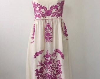 Embroidered Mexican Sundress Cotton Strapless Dress With Lining, Boho Dress, Wedding Dress, Evening Dress