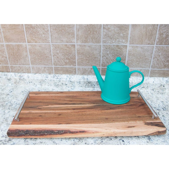 Large Wooden Coffee Table Tray: Wood Serving Board With Handles Coffee Table Tray Large