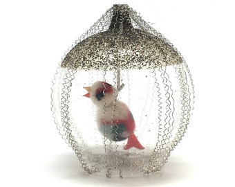 Antique Christmas Ornament, Bird Cage,Germany, Wire Wrapped,Mica Dusted,Pom Pom Bird, Unique, Rare, c1930