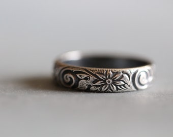 Zoey: Sterling Silver, Wedding Ring, Botanical, Floral, Modern, Minimal, Rustic, Minimal, 5mm, Wide Band,  Made To Order