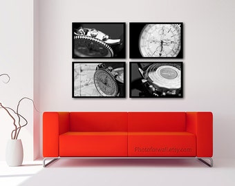 Breitling Navitimer photography, black and white photography, gallery wall set of 4 prints personalized home decor, mens watch for gift