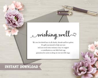 Wishing Well Card, Wedding Wishing Well Wishing Well Printable, Wishing Well Bridal Shower Wedding Insert Heart Script Wishing Well Template