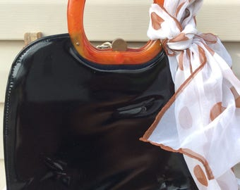 Vintage 1960's Patent Leather and Lucite handle Handbag